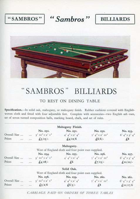 Sambros Bar Billiard table Cata;ogue page 5