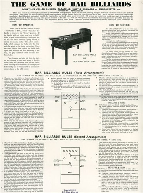 Bar Billiard; Russian Billiards
