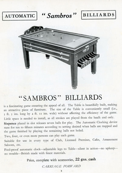 Bar Billiards sams Bros