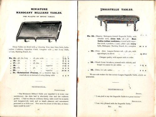 Padmore bagatelle & Small Billiard tables
