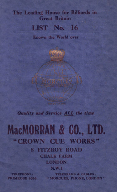 MacMorran 1935 Billiard catalogue