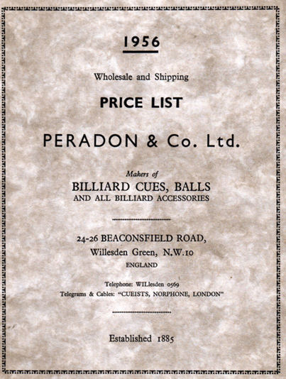 Peradon Billiard Cue & Accessories catalogue 1956
