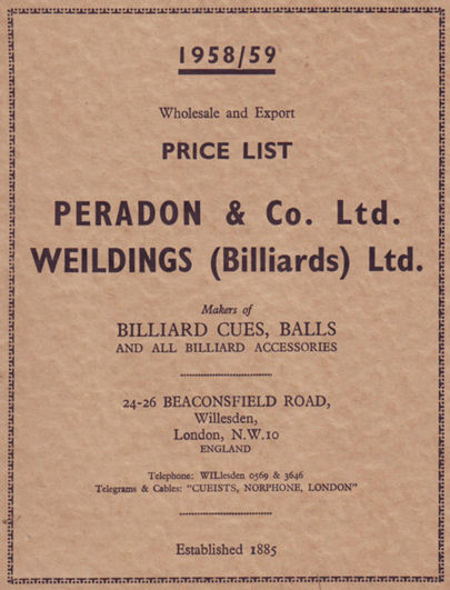 Peradon & Weilding price list