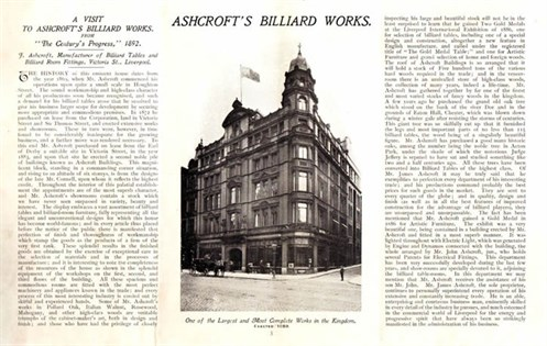 Ashcroft Billiard catalogue