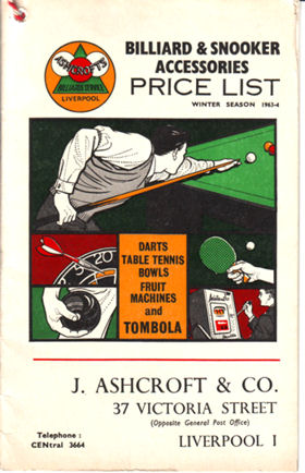 Ashcroft Snooker catalogue