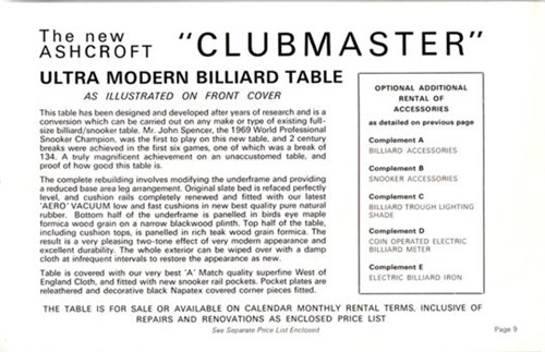 Clubmaster Snooker Table