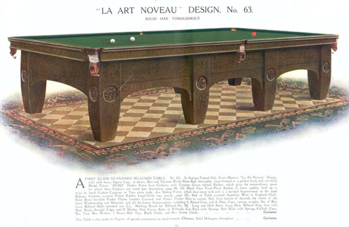 Ashcroft La Art Noveau model Snooker table