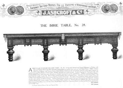 Ashcroft Billiard Table model No. 28