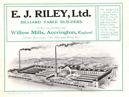 E.J Riley Billiard factory Accrington