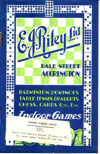 E.j. Riley indoor games catalogue