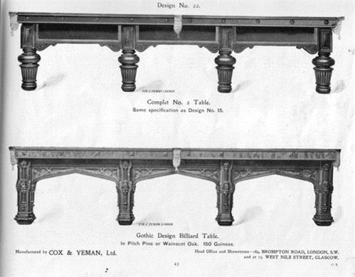 Billiard tables by Cox & Yeman