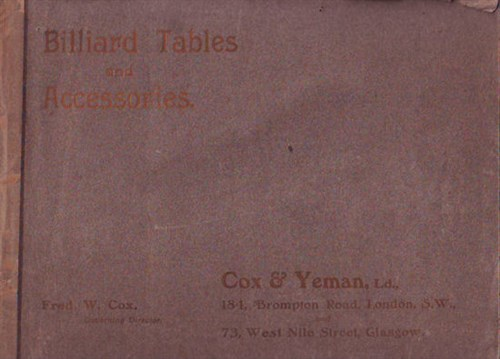 Cox & Yeman catalogue front cover