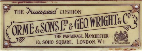 Geo Wright & Ormes Billiard Cushion plate