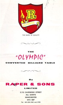 Raper & Sons Olympic Snooker table