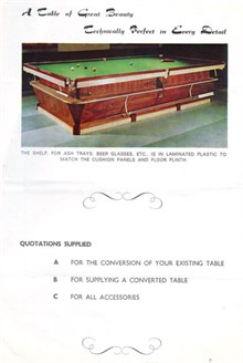 Olympic Snooker table by Raper & Sons